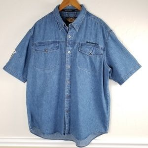 Harley Davidson Short Sleeve Denim Shirt XL